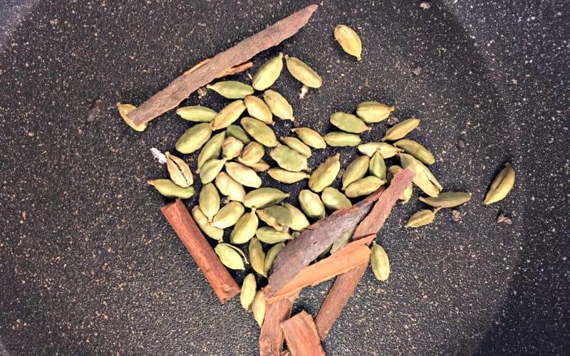 cinnamon and cardamom pods