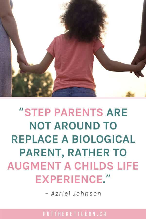 Young girl with stepmom and dad, step parent quote