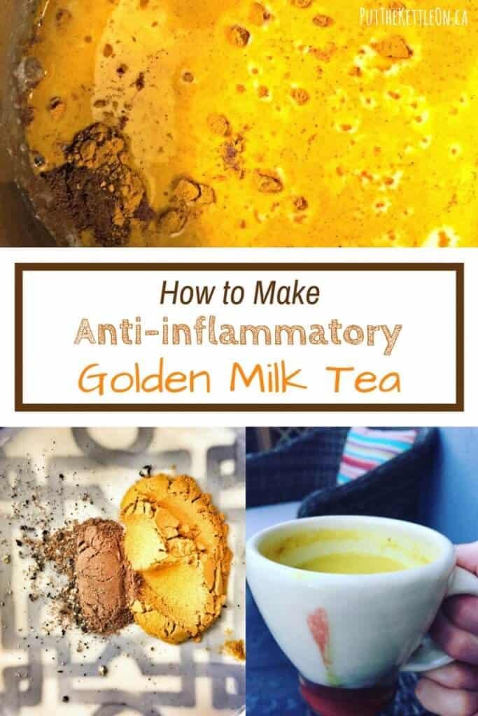 How to make anti-inflammatory golden milk tea. Closeup of tea mixture in pot, golden milk tea spices and cup of golden tea.