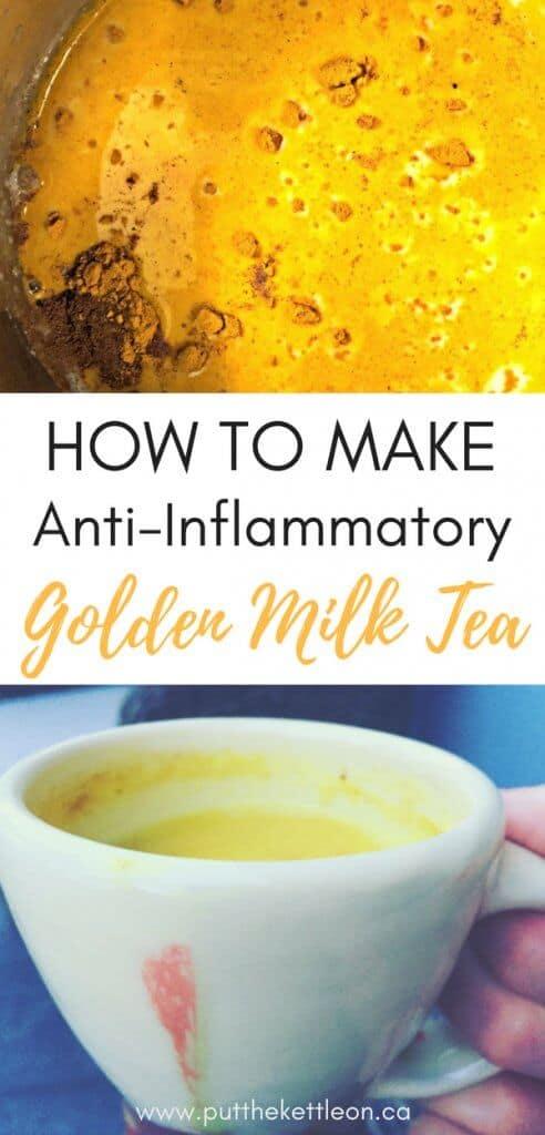How to Make Anti-Inflammatory Golden Milk Tea. Image of golden milk tea in pot and cup.