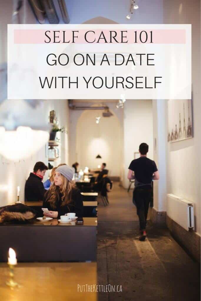 Self Care 101. Go on a date with yourself! Image of young woman at a coffee shop table.