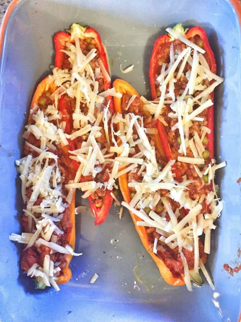 A Fast and Easy Weeknight Meal. Turkey and Marinara Stuffed Peppers.
