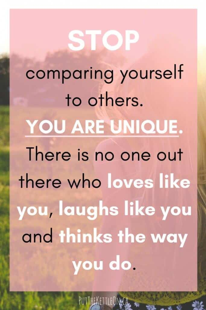 Stop comparing yourself to others quote.