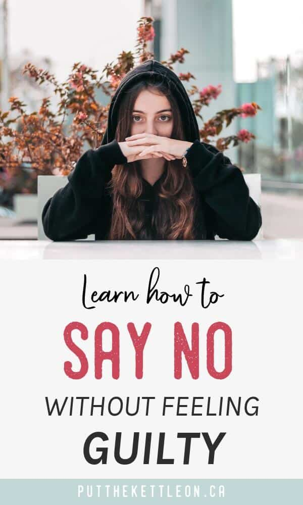 Do you have trouble saying no to friends and family or even at work? Think about your self care and learn how to say no without the guilt! I share 5 ways to uncover your stress about saying no to people, plus some specific tips  on ways to say no. Once you learn the art of saying no you can unlock more happiness and balance in life!
