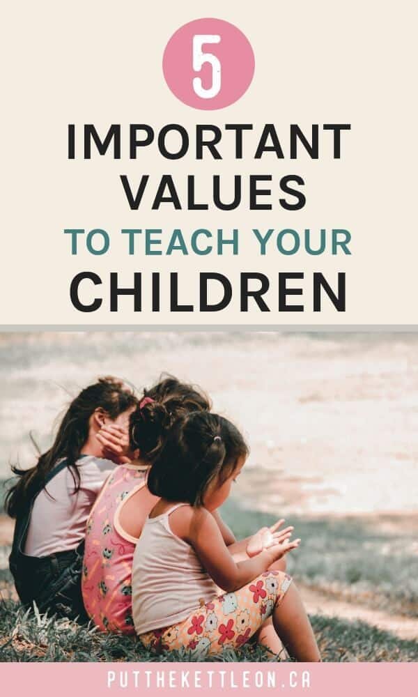 Three children sitting on the grass in a row, with overlay text: 5 important values to teach your children.