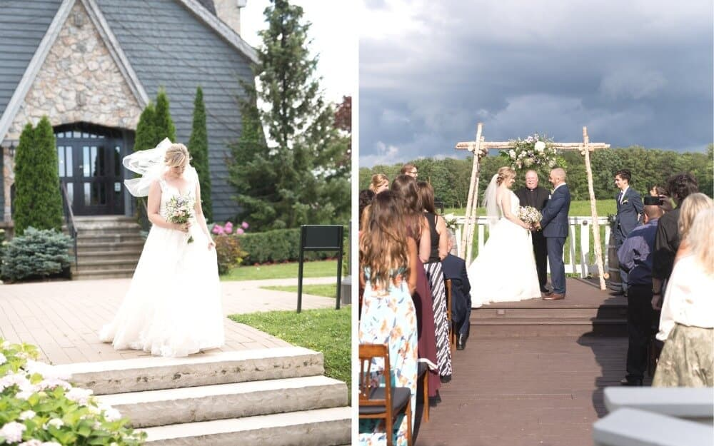 Left image of bride walking down the aisle at an outdoor wedding. Right image of bride and groom at alter.