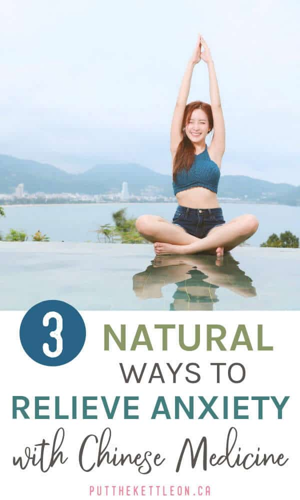 Woman meditating. 3 natural ways to relieve anxiety with Chinese medicine.