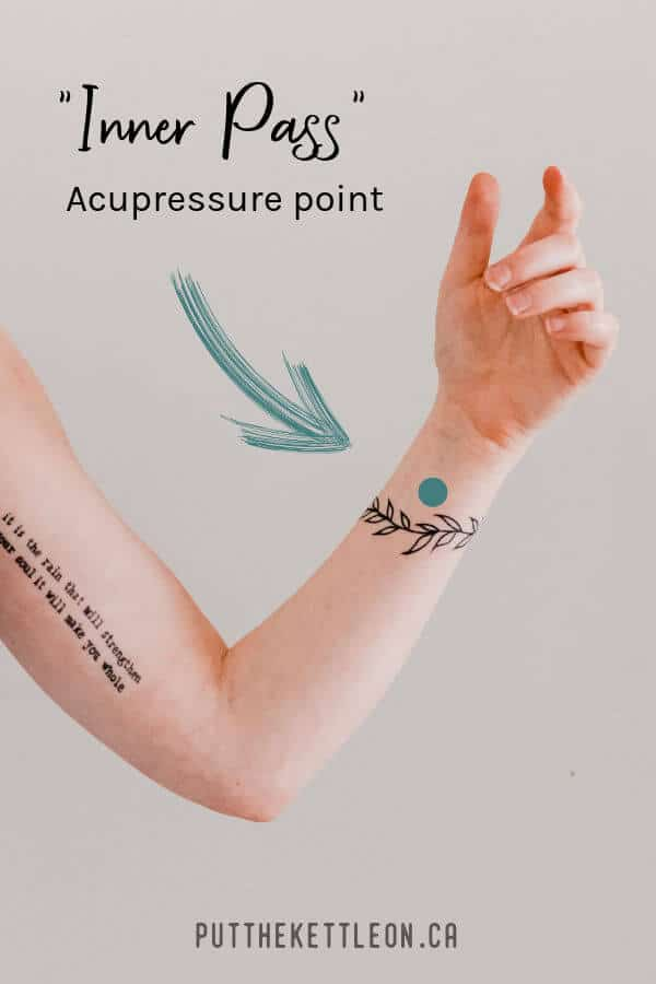 Inner pass acupressure point showing arm with the exact point.