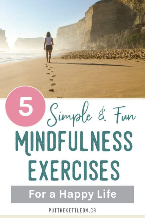 Simple and fun mindful exercises. Woman walking on beach.