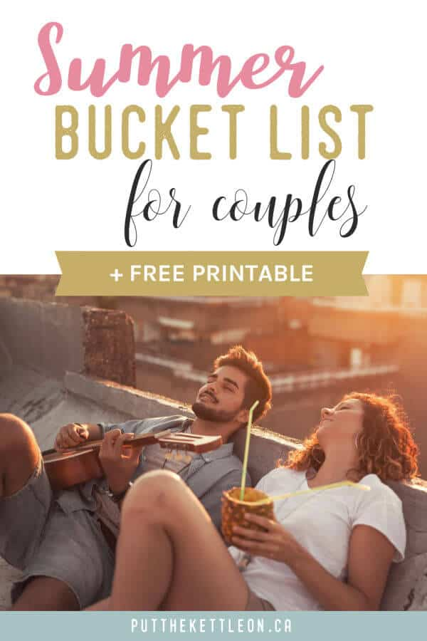 Summer bucket list for couples plus free printable