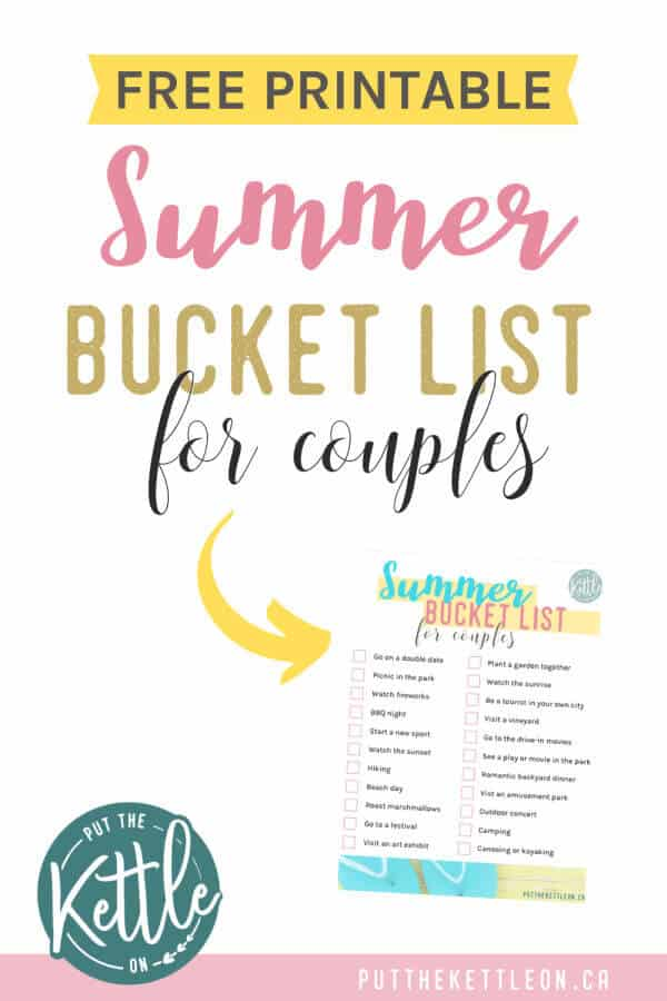 Free Printable Summer Bucket List for Couples
