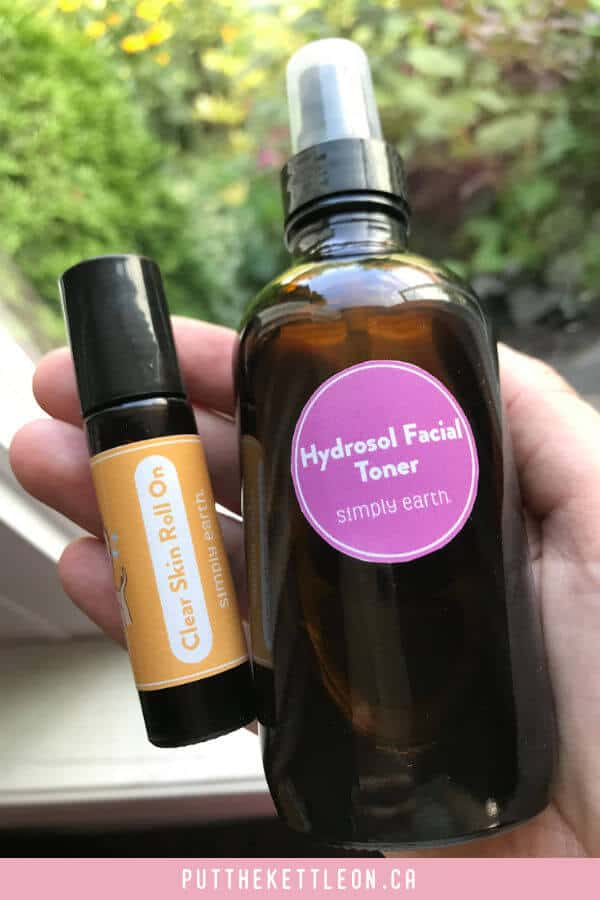 Essential oil DIY clear skin roller bottle and facial toner from Simply Earth