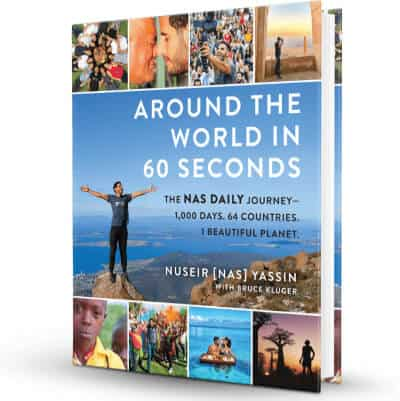 Around the World in 60 Seconds Book image. The Nas Daily Journey