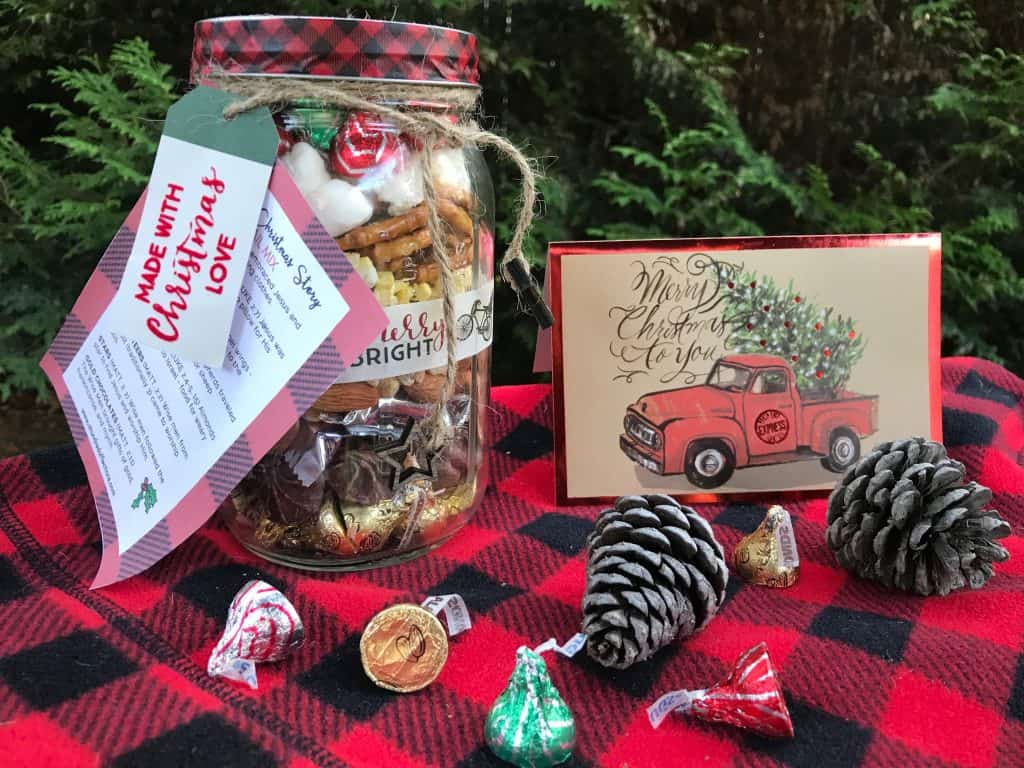 Nativity Christmas Trail Mix in a mason jar