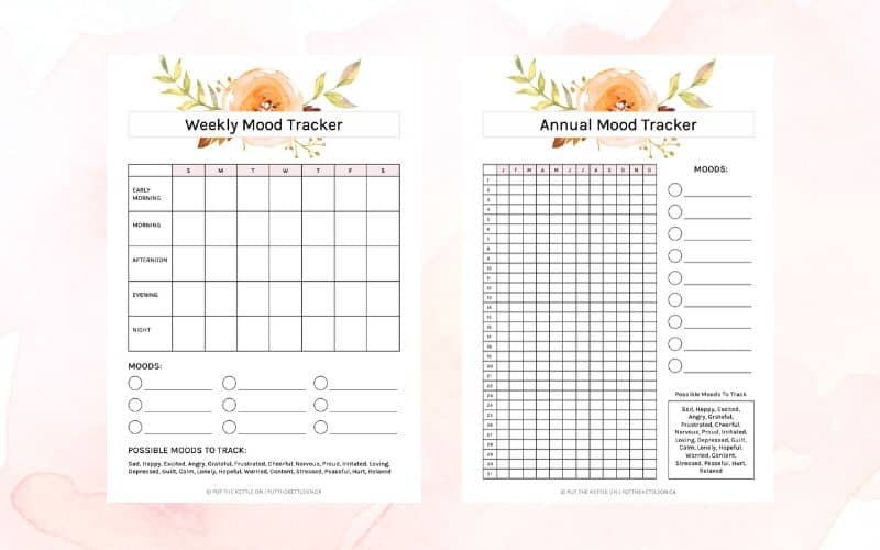Two free printable mood trackers - weekly and yearly pdfs to download and print